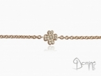 Four leaf clover bracelet with diamonds Red gold 18 kt