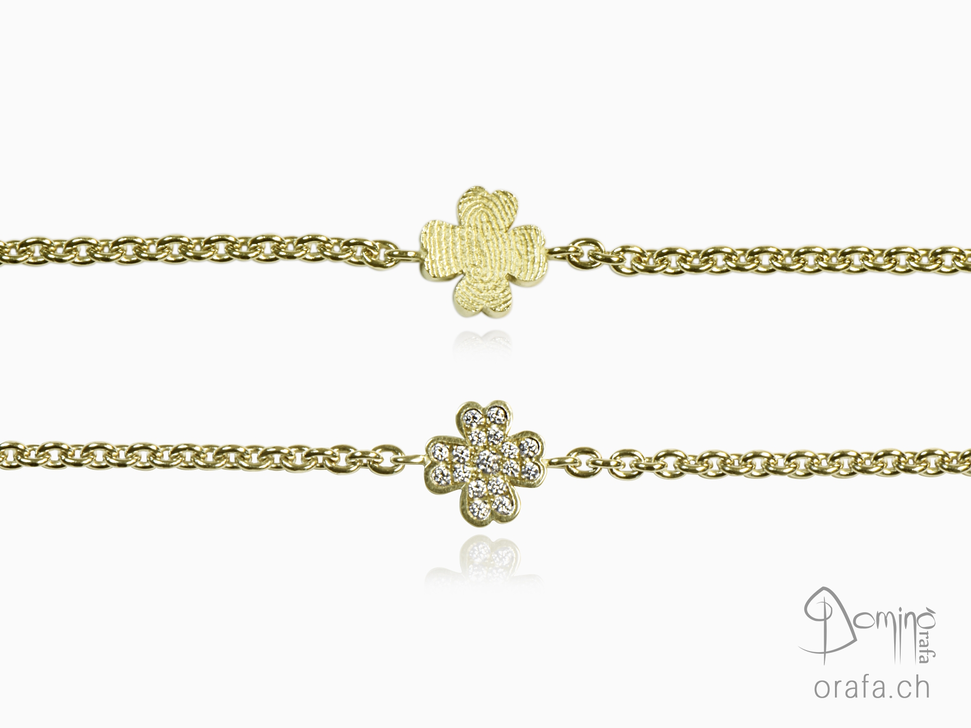Four leaf clover bracelet with diamonds and fingerprint