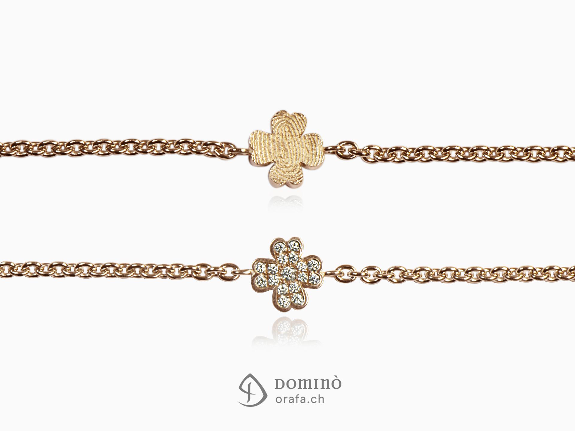 Four leaf clover bracelet with diamonds and fingerprint