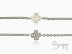 Four leaf clover bracelet with diamonds and fingerprint White gold 18 kt