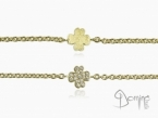 Four leaf clover bracelet with diamonds and fingerprint Yellow gold 18 kt