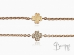 Four leaf clover bracelet with diamonds and fingerprint Red gold 18 kt