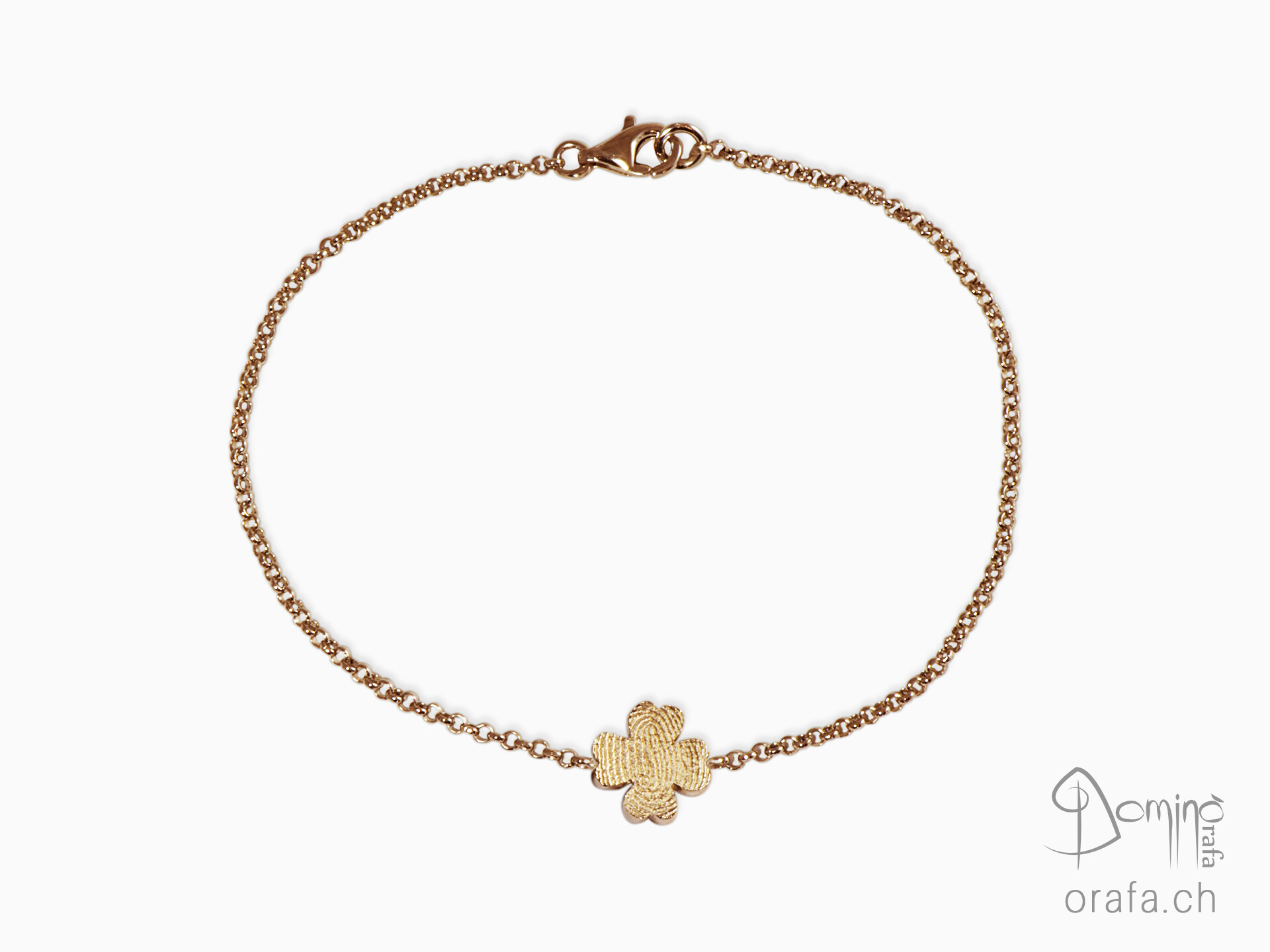 Four leaf clover bracelet with fingerprint