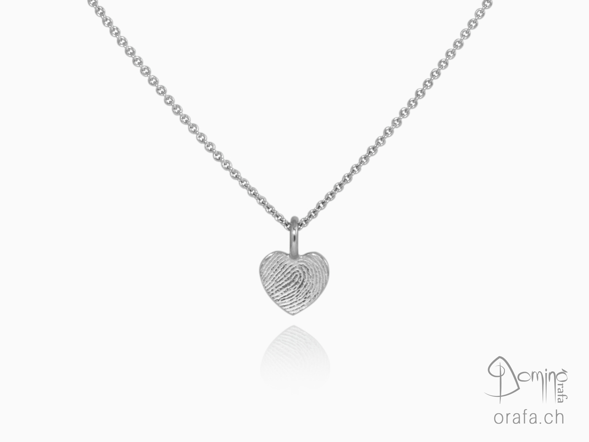 Heart pendant with fingerprint