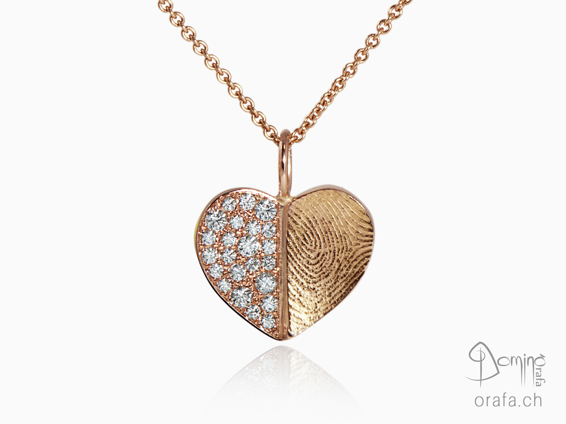 Heart pendant with fingerprint and diamonds