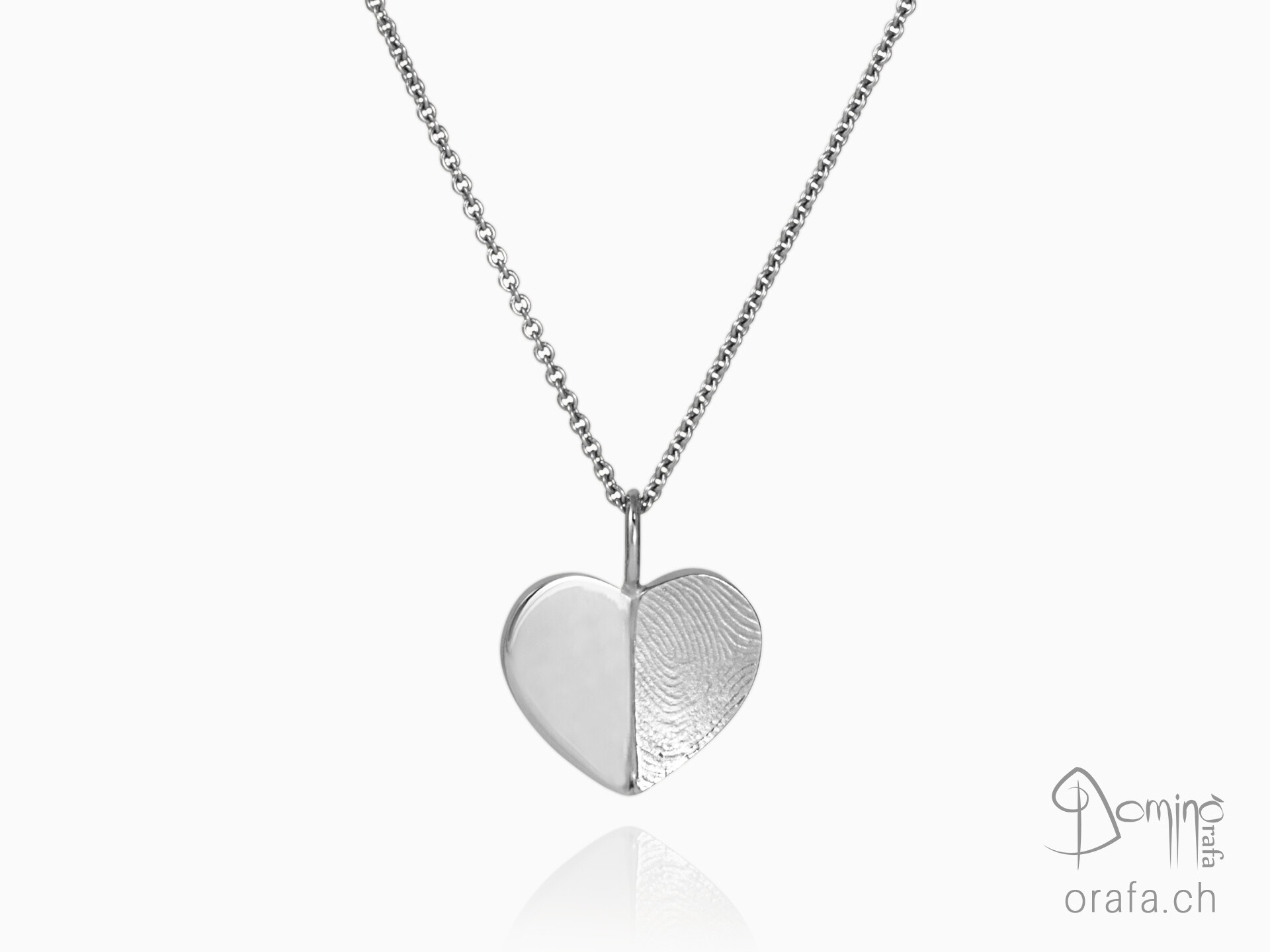 Heart pendant half fingerprint half polished