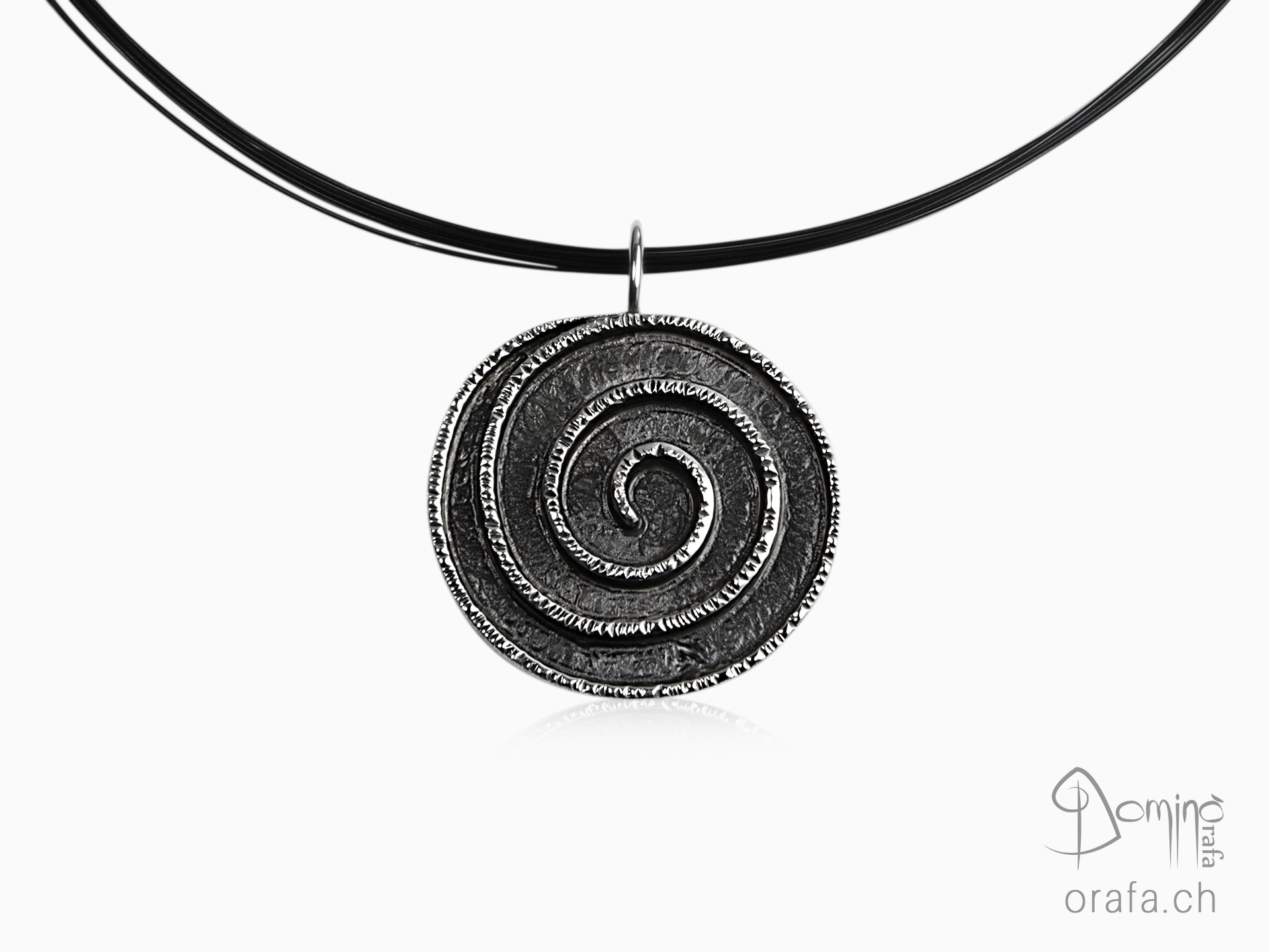 Oxidized Spiral silver pendant