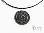 Oxidized Spiral silver pendant 925 oxidized silver