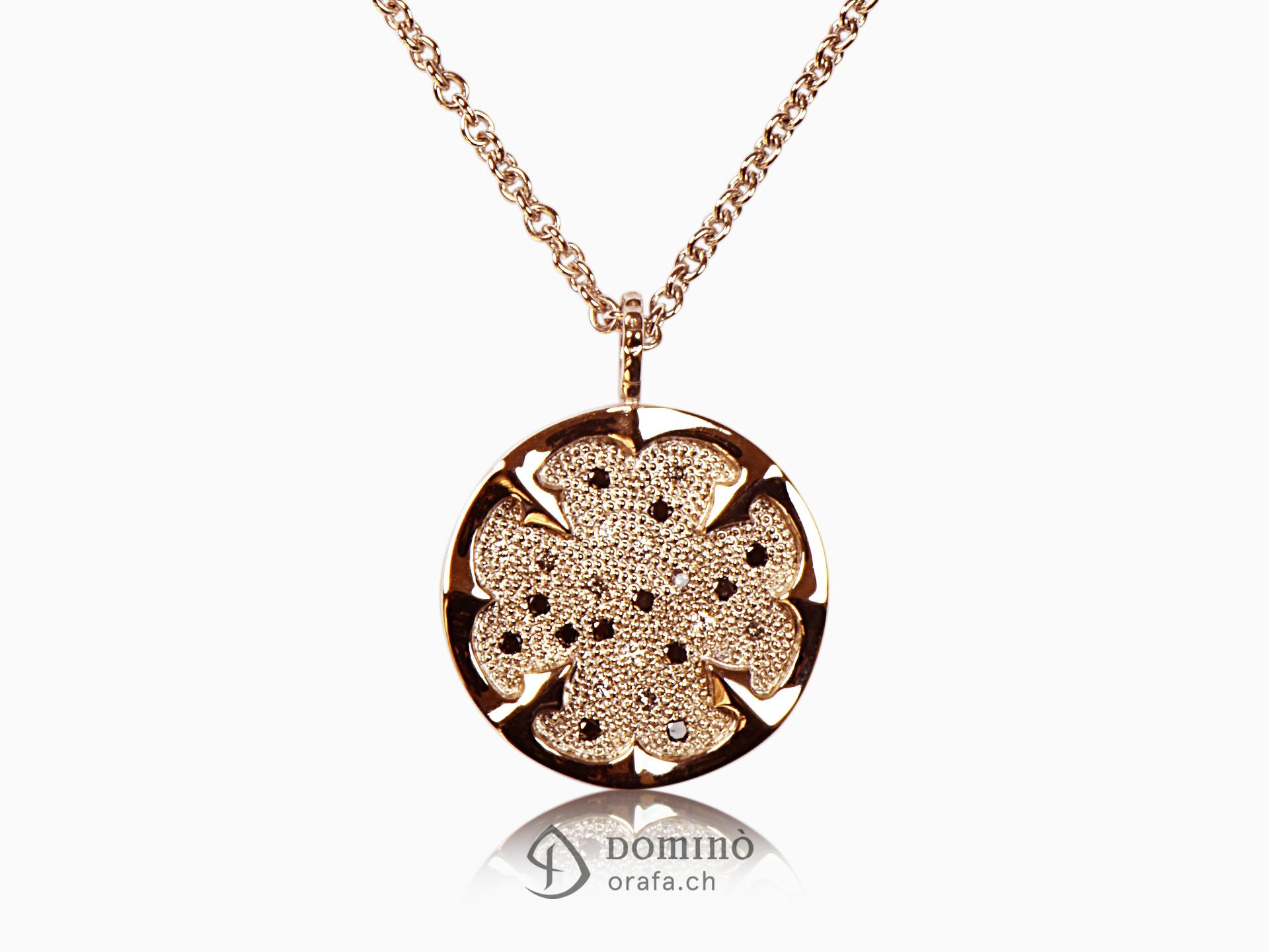 Four-leaf clover with diamonds