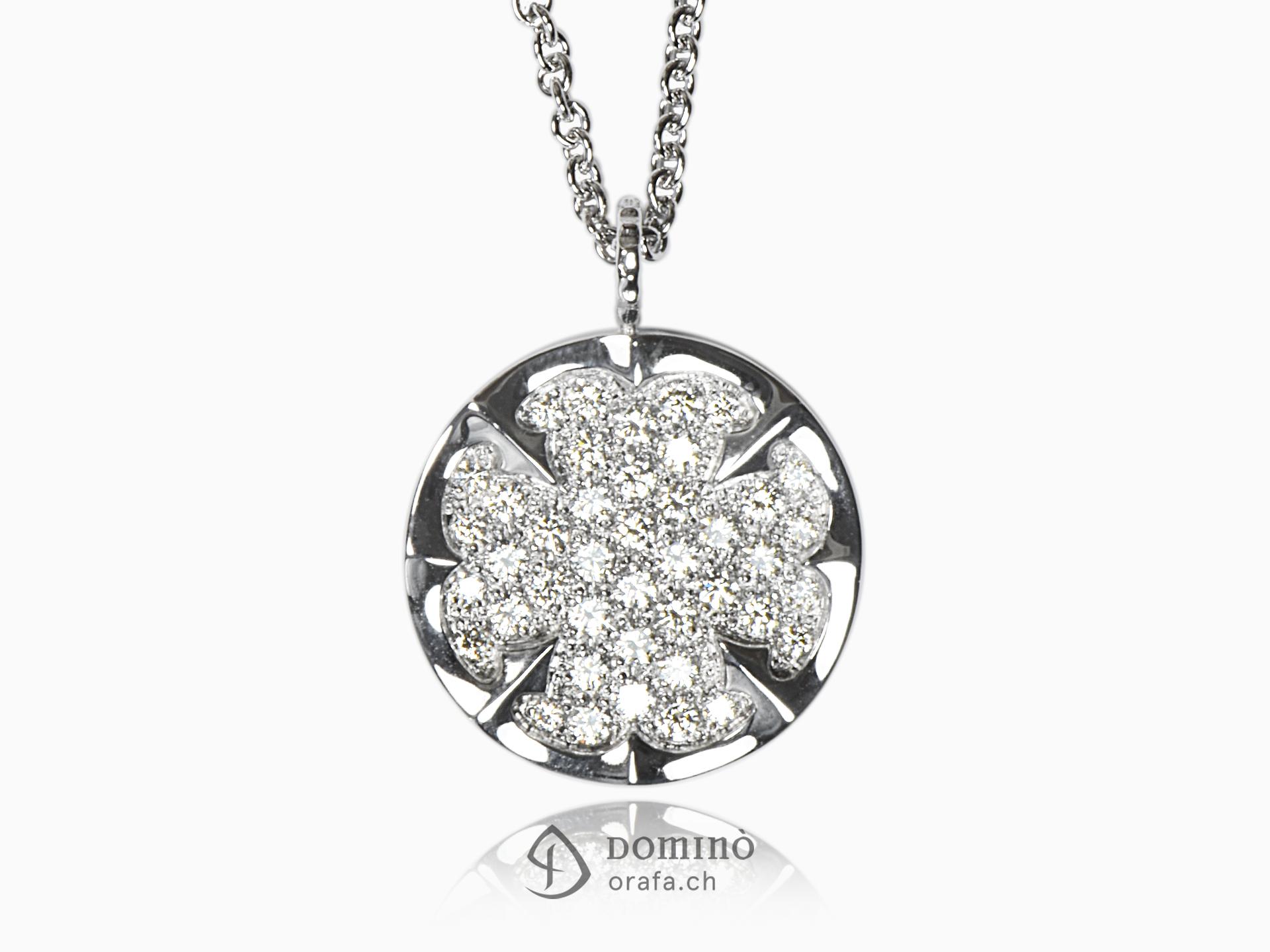 Ciondolo Quadrifoglio con diamanti