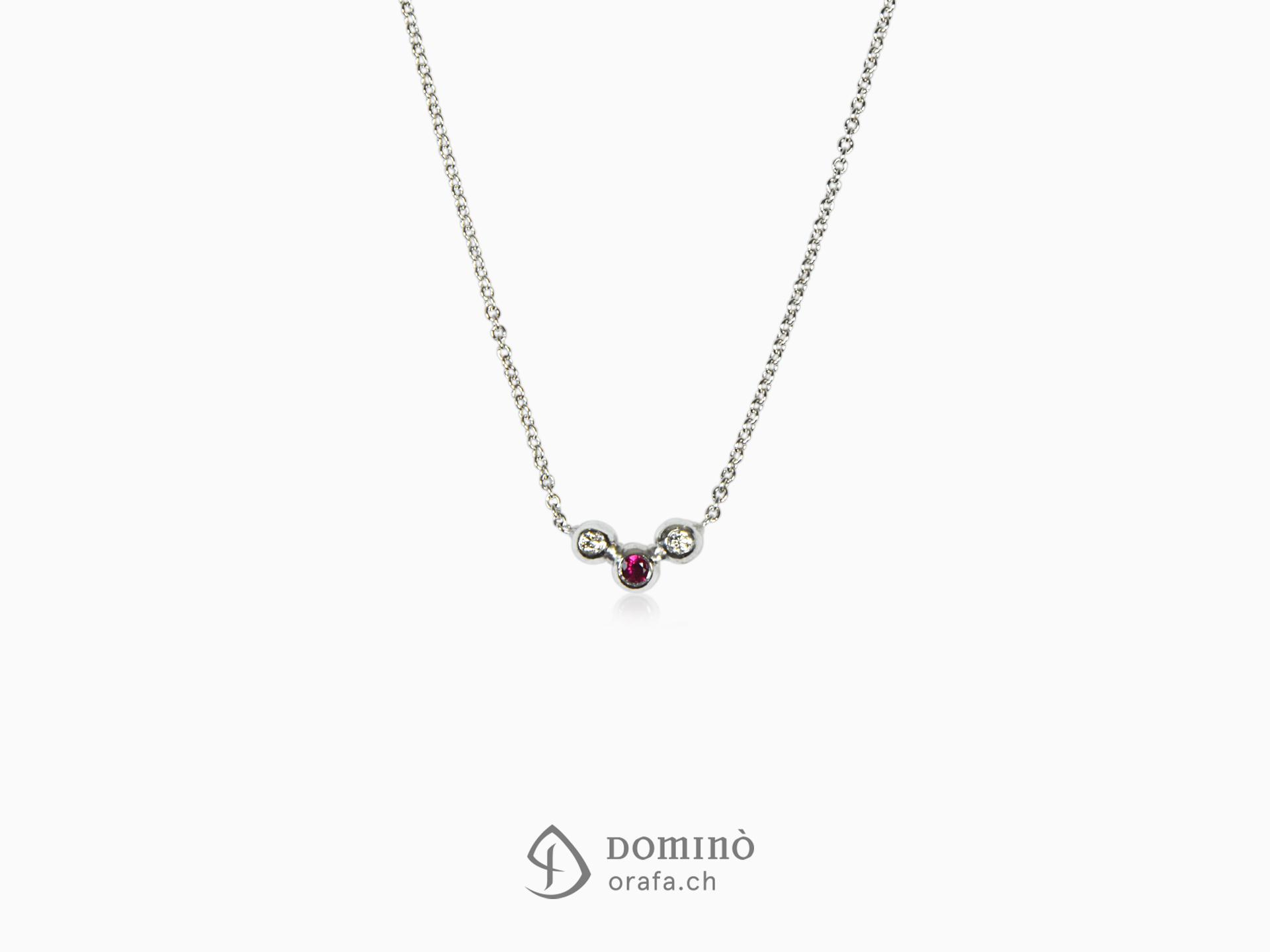 Collier Sfere con diamanti e rubino