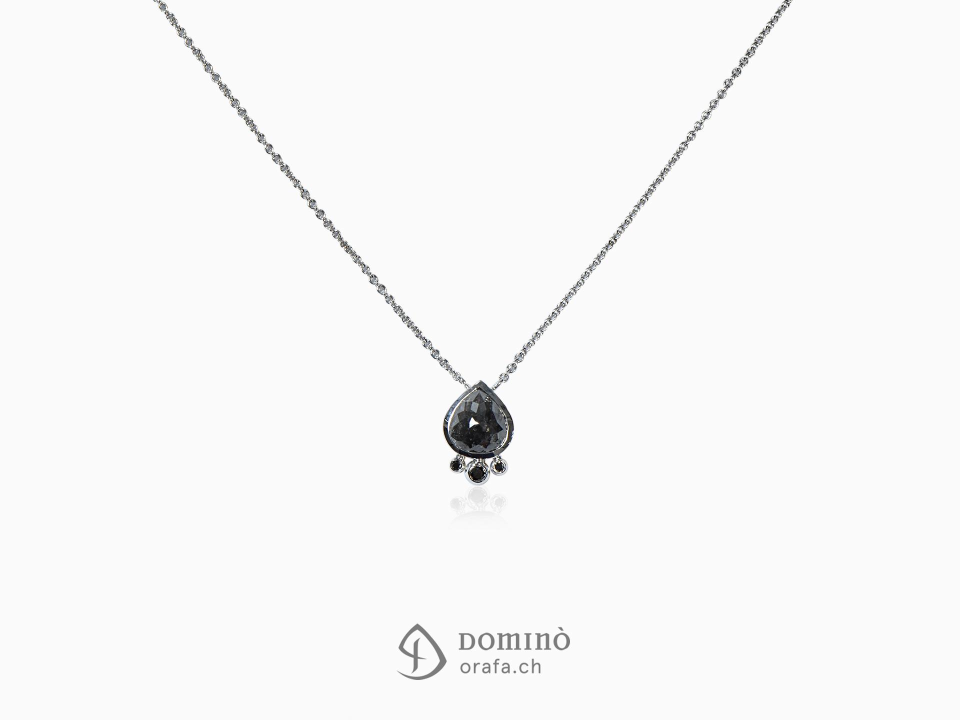 Collier in oro bianco e diamanti neri
