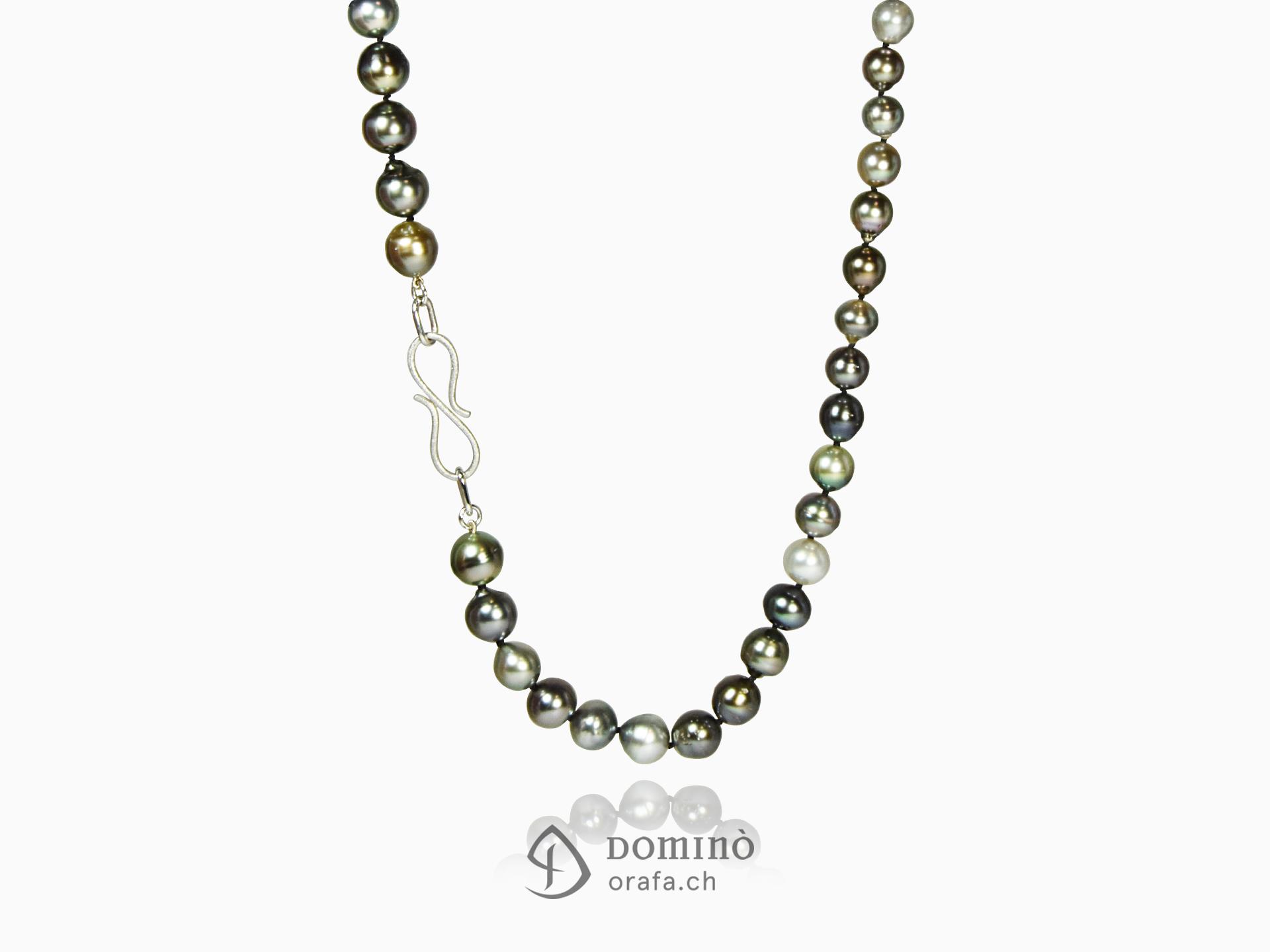 Collier di perle tahiti multicolor e oro bianco