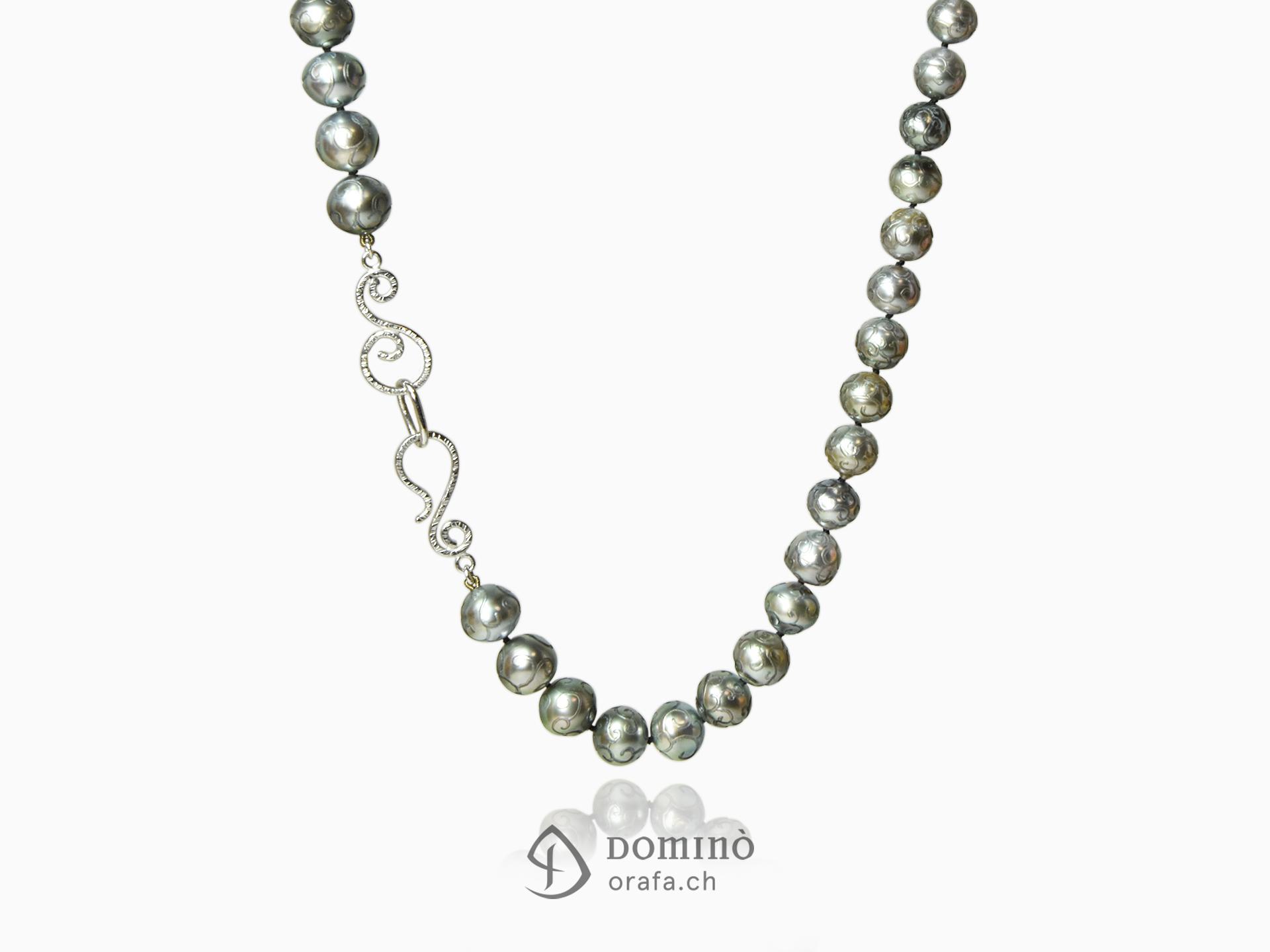 Collier di perle tahiti incise