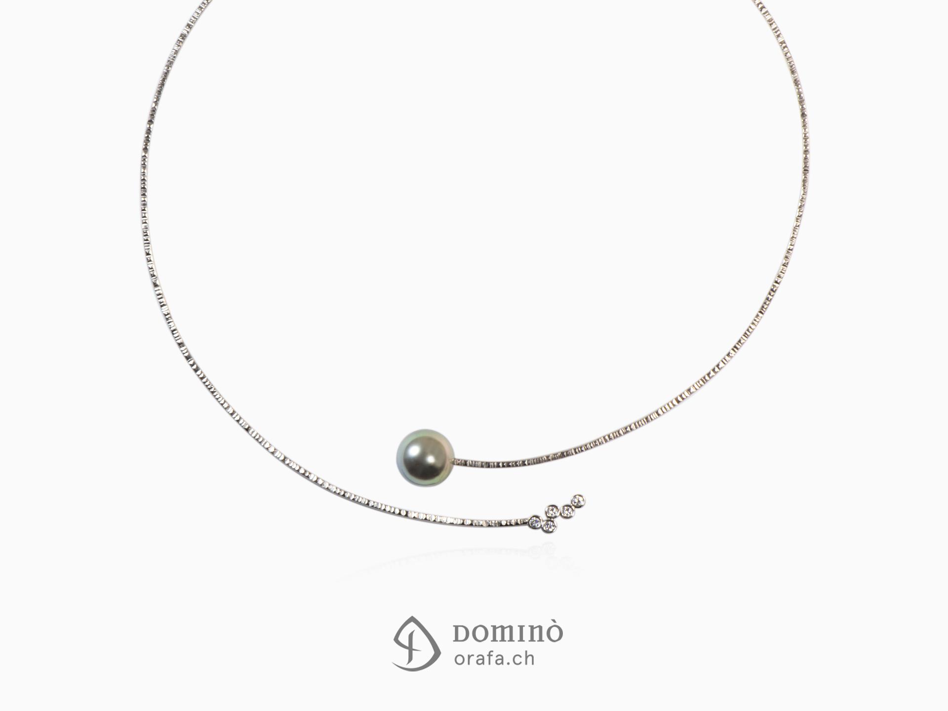 Collier di diamanti e perla tahiti
