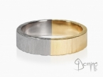 Two-color wedding rings, Opaca finishing and irregular edges White and yellow gold 18 kt