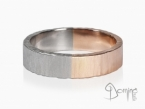 Two-color wedding rings, Opaca finishing and irregular edges White and red gold 18 kt