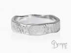 Crossed Linee ring with fingerprint White gold 18 kt