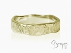Crossed Linee ring with fingerprint Yellow gold 18 kt