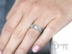 Crossed Lines diamonds and engraved Heart wedding rings