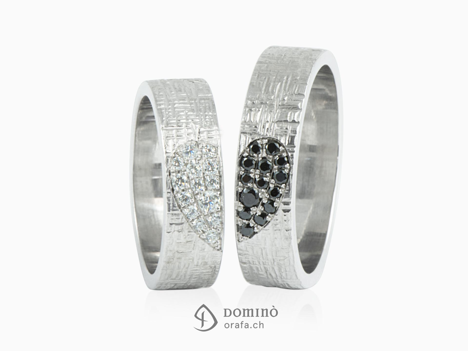 Fedi nuziali Linee incrociate con Cuore di diamanti