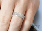 Satin wedding rings with engraved heart