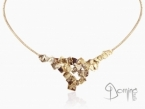 Rigid choker with Frammenti pendant Red gold 18 kt