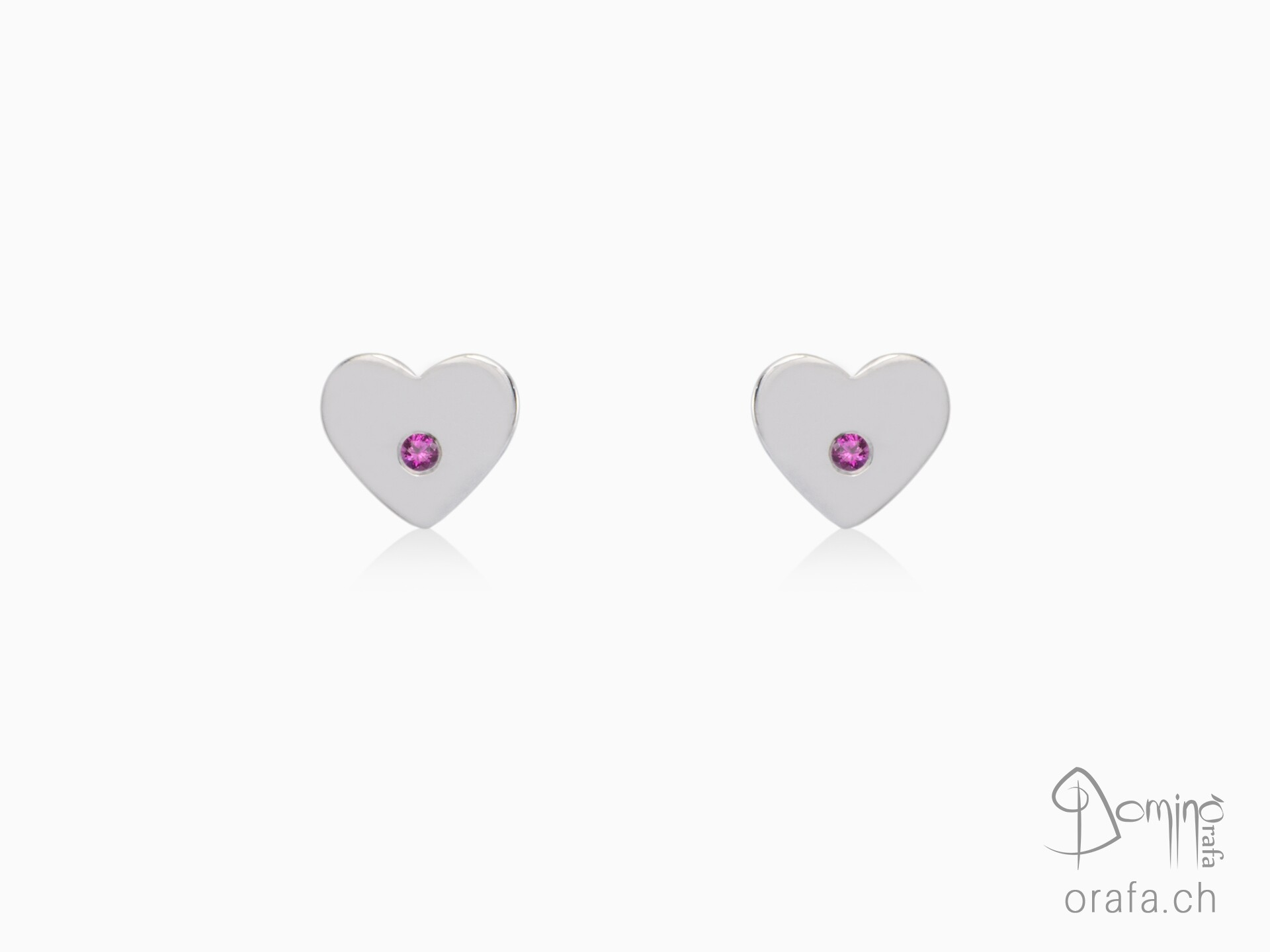 Hearts earrings with pink sapphires