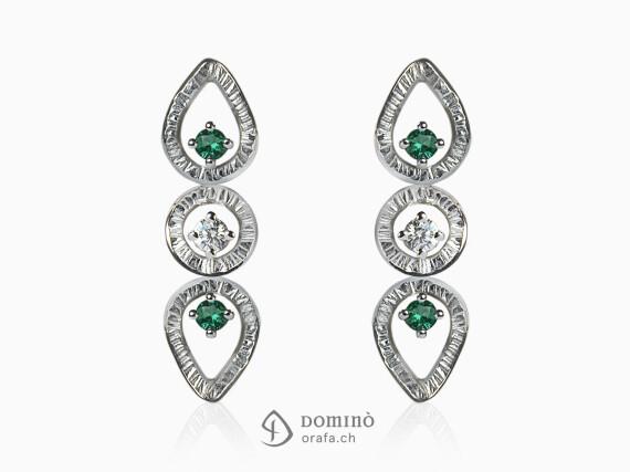 orecchini-linee-gocce-rotondi-smeraldi-diamanti-oro-bianco