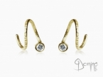 Spirale dangle earrings with diamonds Yellow gold 18 kt