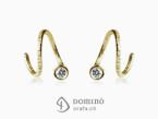 Spirale dangle earrings with diamonds Yellow gold 18 kt