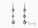 Tahitian pearl earrings and oxidized silver 925 oxidized silver