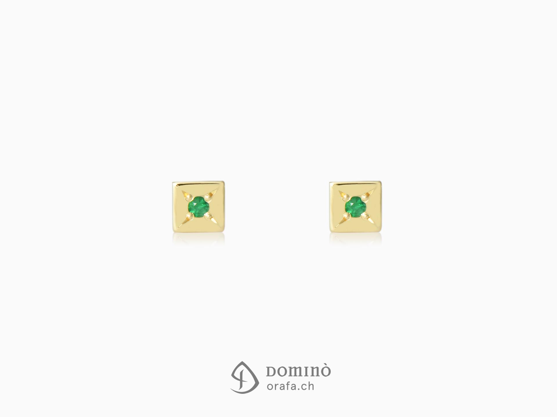 Orecchini quadrati con smeraldi