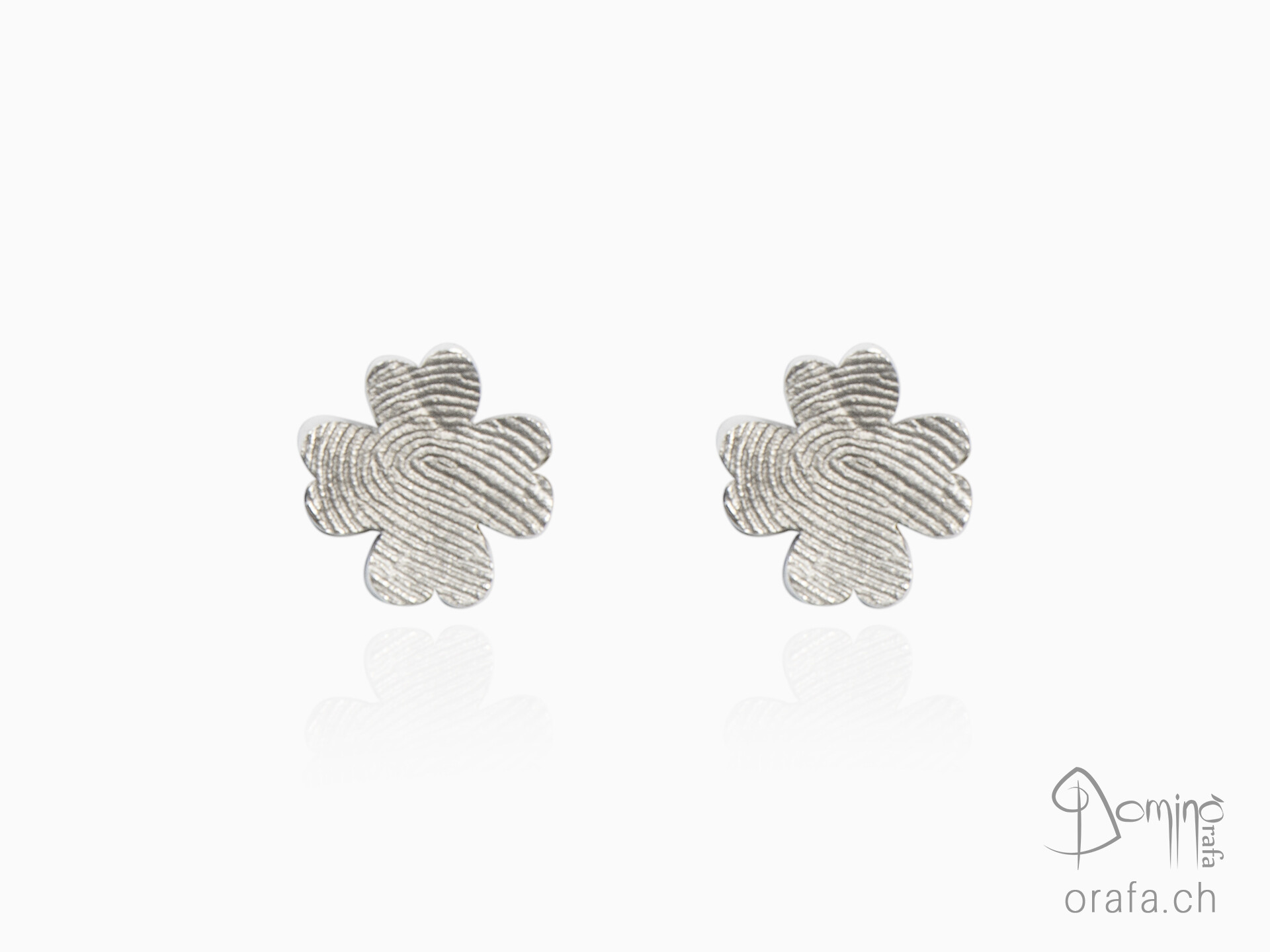 Four leaf clover earrings with fingerprints