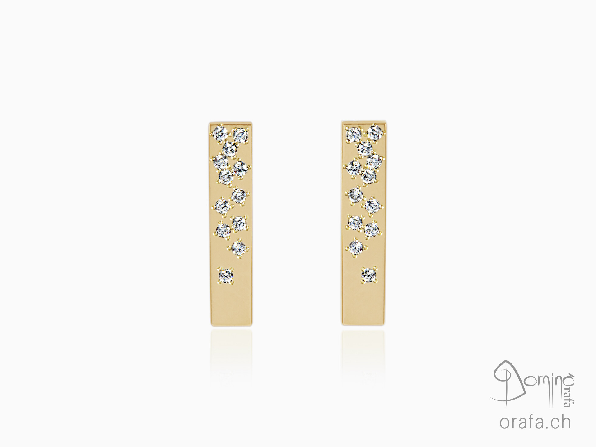 rectangular earrings with diamonds