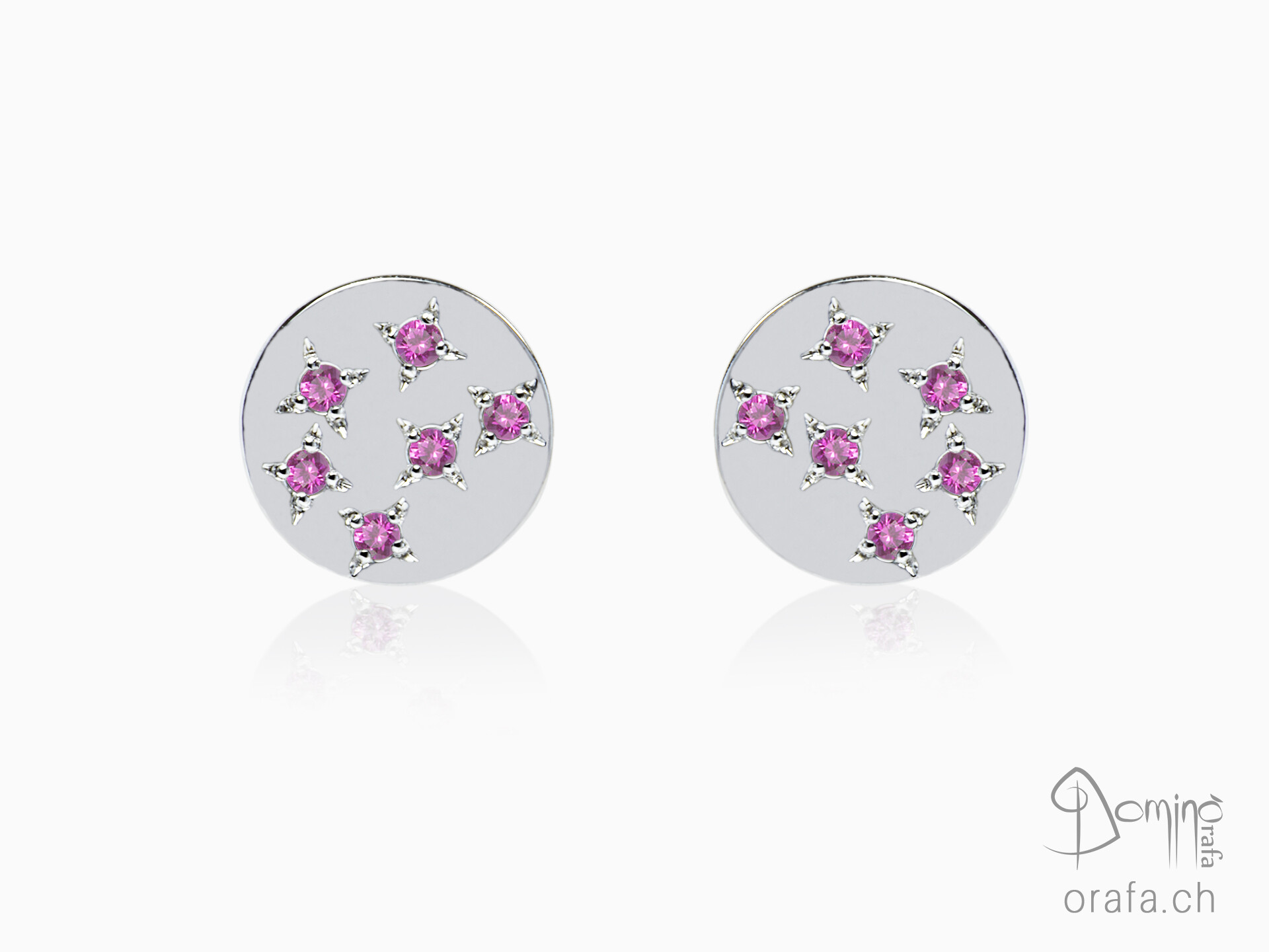 Stars earrings with pink sapphires