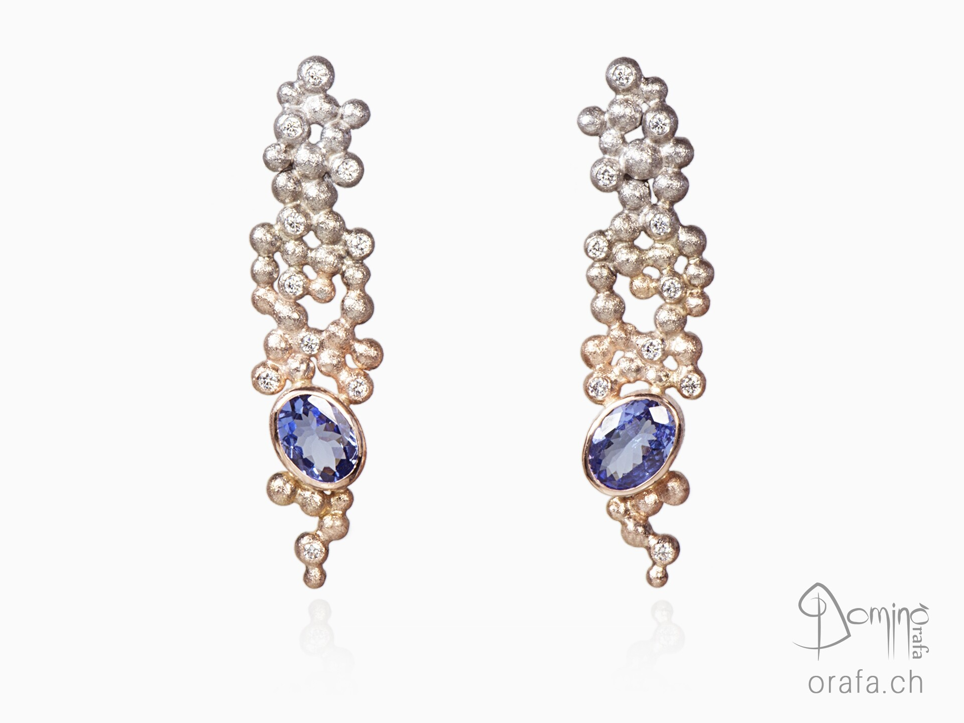 Alba Spheres earrings with tanzanites and diamonds