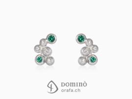 orecchini-sfere-piccoli-sabbiati-diamanti-smeraldi-oro-bianco