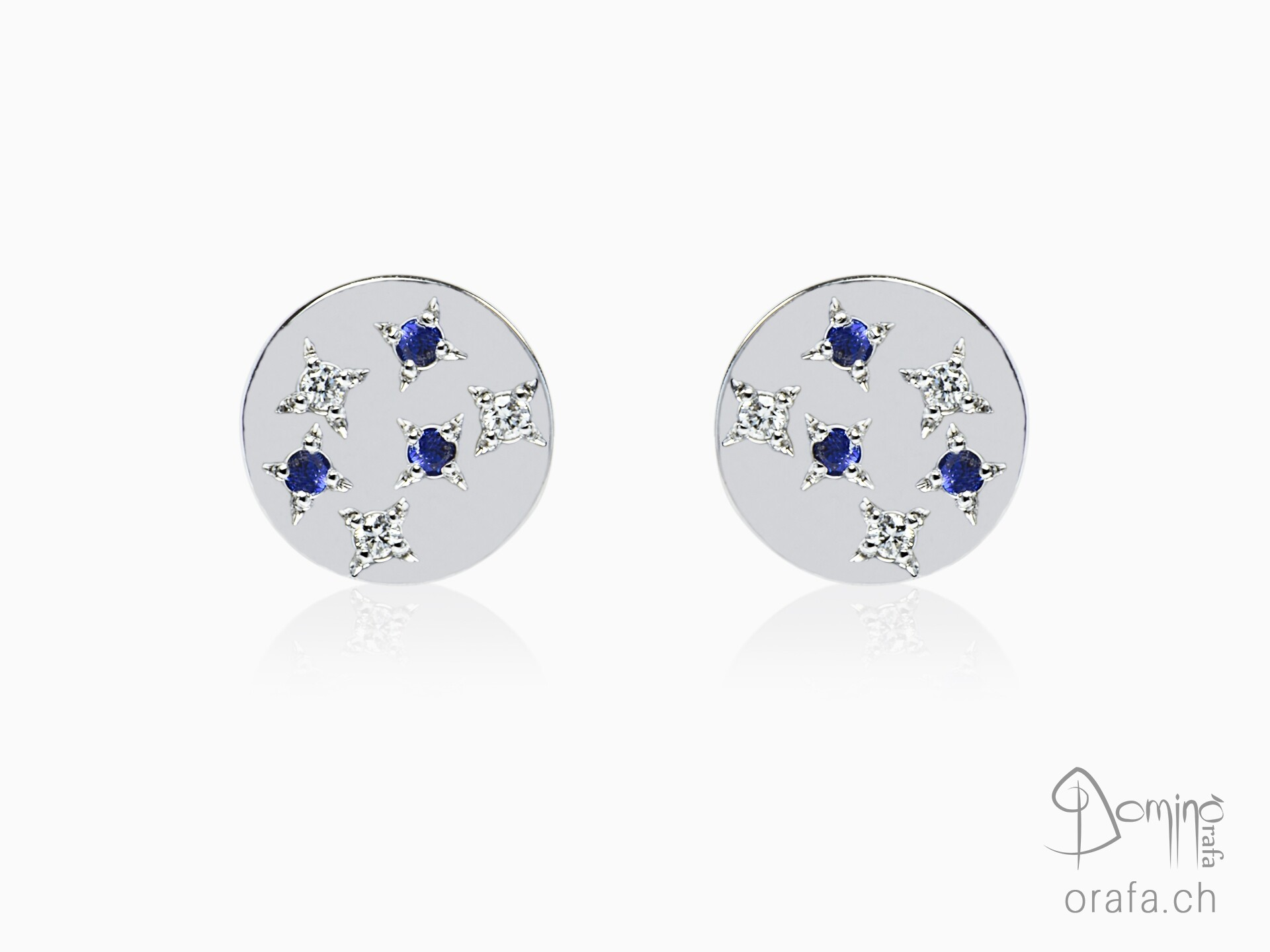 Blue sapphires and diamonds Stars earrings